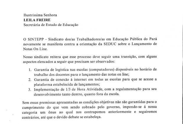 """Orientação do SINTEPP quanto ao lançamento de notas e frequência """"online"""""""