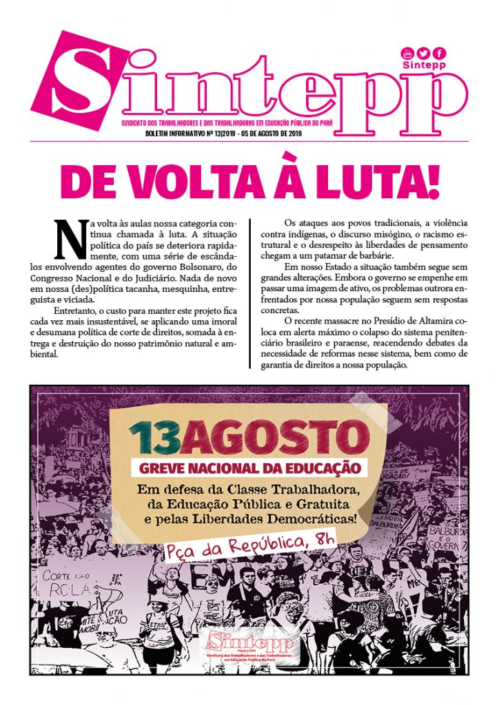 Boletim Informativo nº 13|2019 – 05 de agosto de 2019