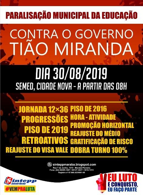 Marabá convoca paralisação municipal para 30.08