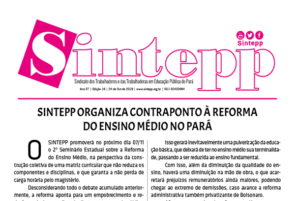 Sintepp Informa nº 16|2019 – 24 de outubro de 2019