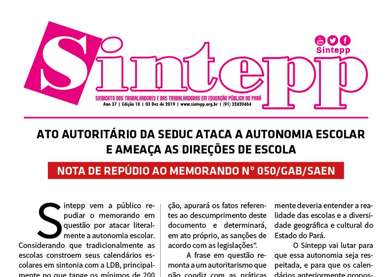 Sintepp Informa n. 18|2019 – 03 dez 2019