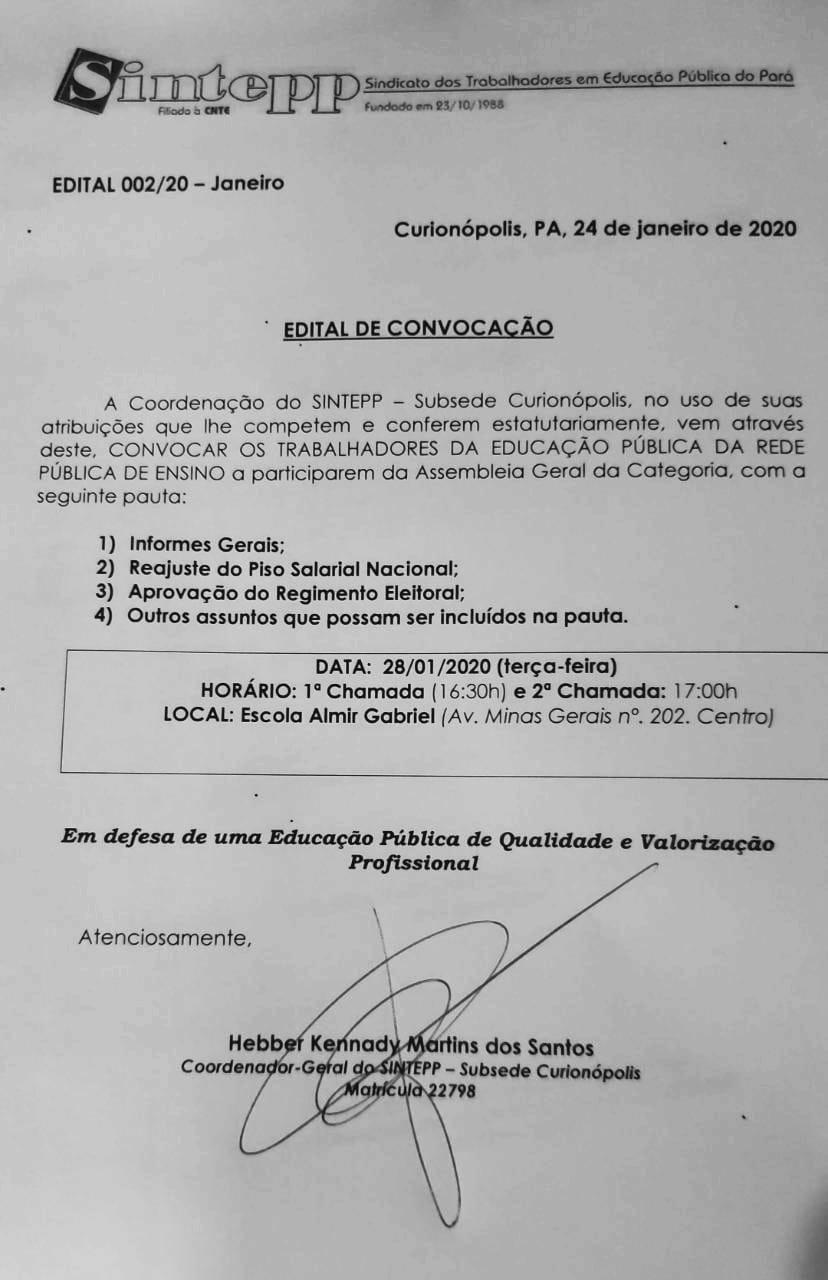 SINTEPP Curionópolis convoca assembleia geral para tratar de eleição sindical