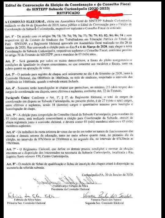 Edital de convocação de Eleição de Curionópolis