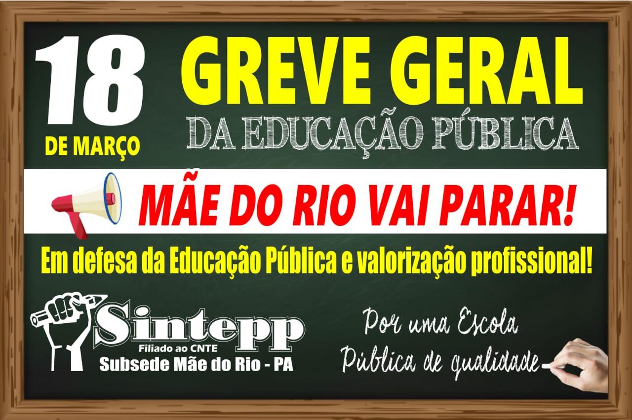 Em 18 de março a EDUCAÇÃO de MÃE DO RIO vai PARAR