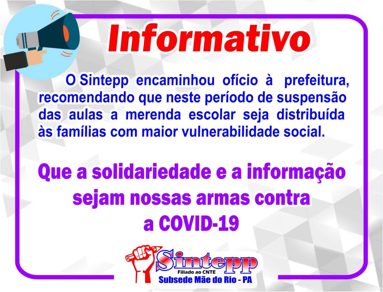 SINTEPP Mãe do Rio recomenda distribuição de alimentação escolar às famílias com maior vulnerabilidade social