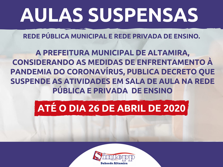 COVID-19: Aulas suspensas em Altamira até 26.04