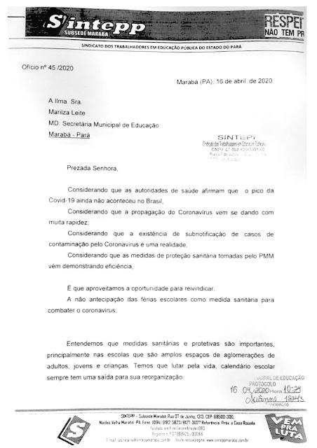 SINTEPP Marabá destaca que isolamento social não é férias