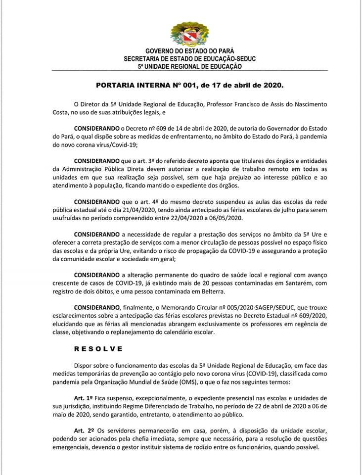 COVID-19: SINTEPP negocia com 5ª URE funcionamento de escolas da região