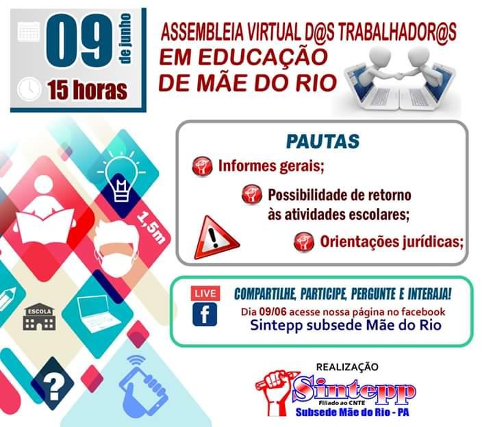 SINTEPP Mãe do Rio convoca assembleia geral interativa – 09.06