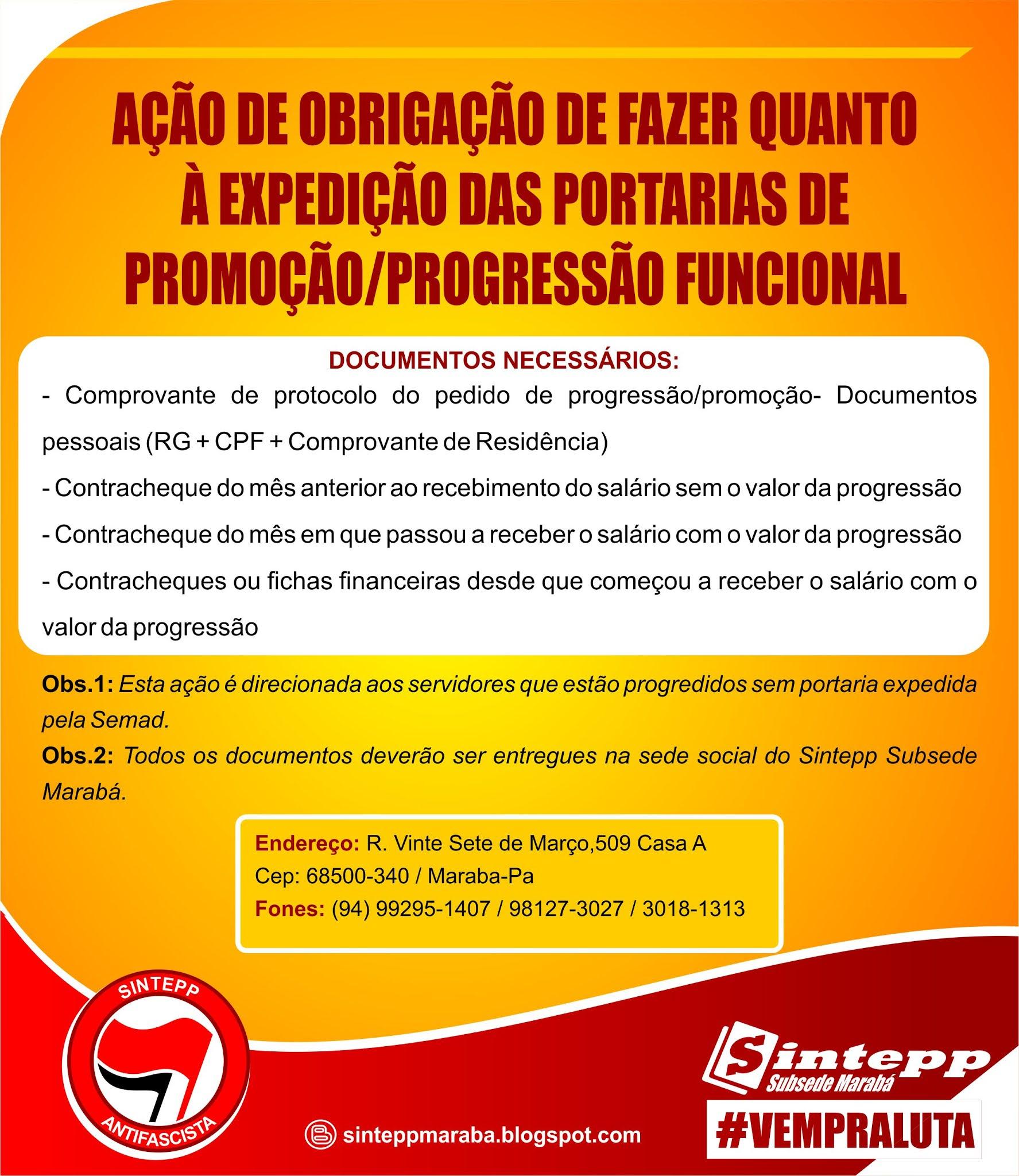 Ação de obrigatoriedade de fazer quanto à expedição de portarias de promoção/progressão funcional de Marabá