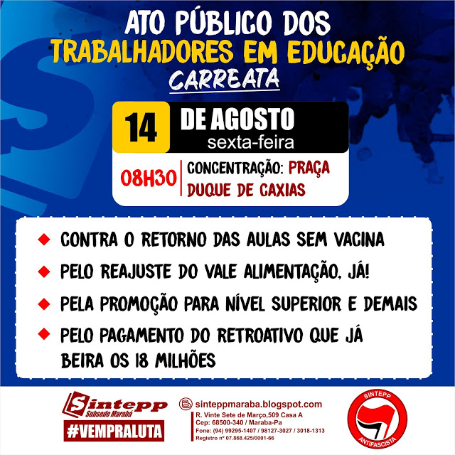 SINTEPP Marabá convoca carreata