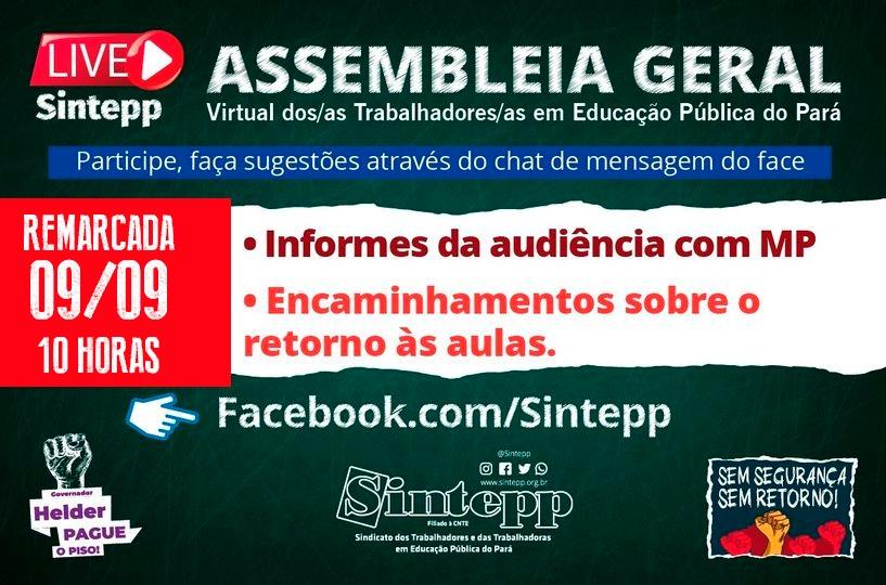 09|SET: Assembleia geral Virtual SINTEPP