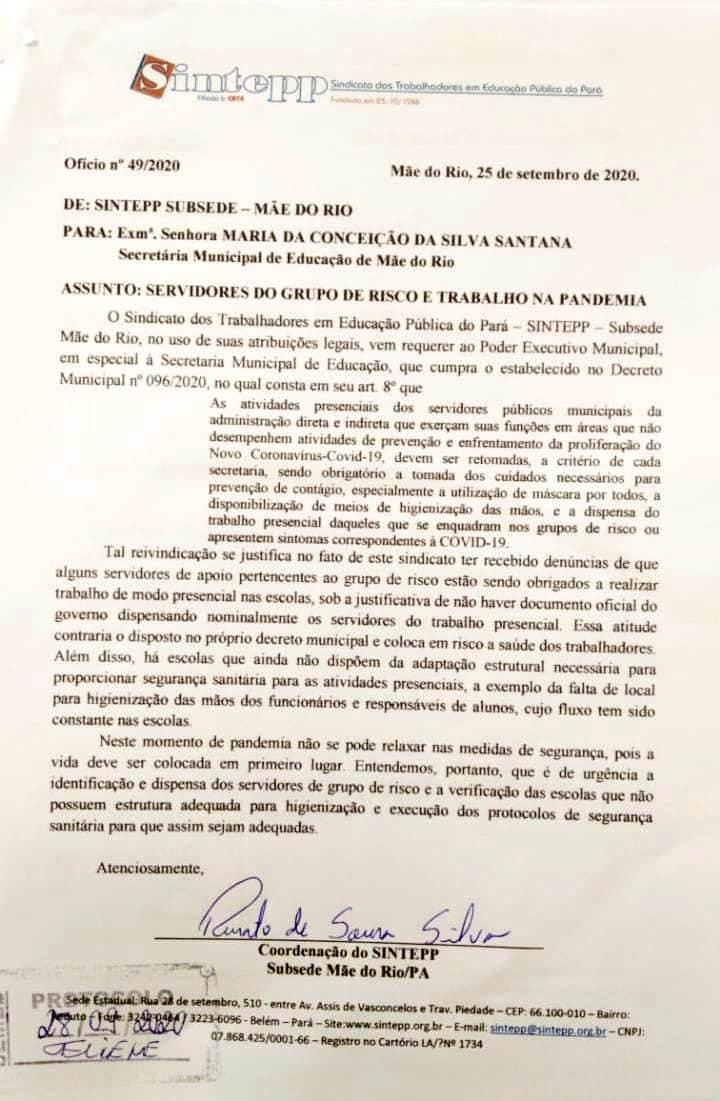 Sintepp Mãe do Rio cobra liberação de Trabalhadores do Grupo de Risco