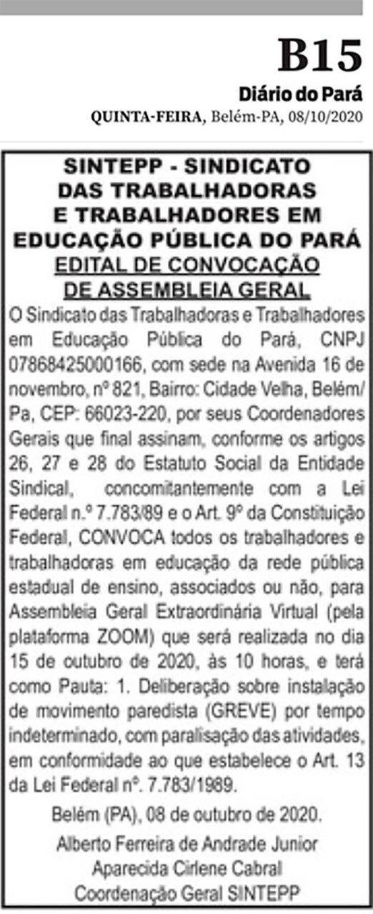 Edital de convocação de Assembleia Geral – 15 de outubro de 2020
