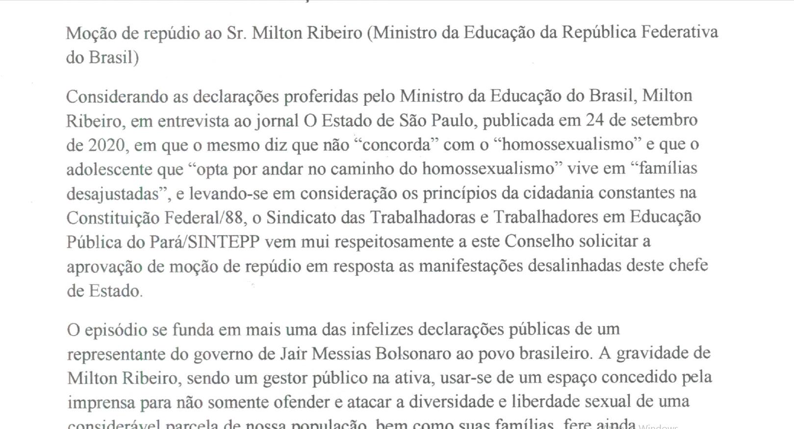 SINTEPP aprova no CEE repúdio a Milton Ribeiro/MEC