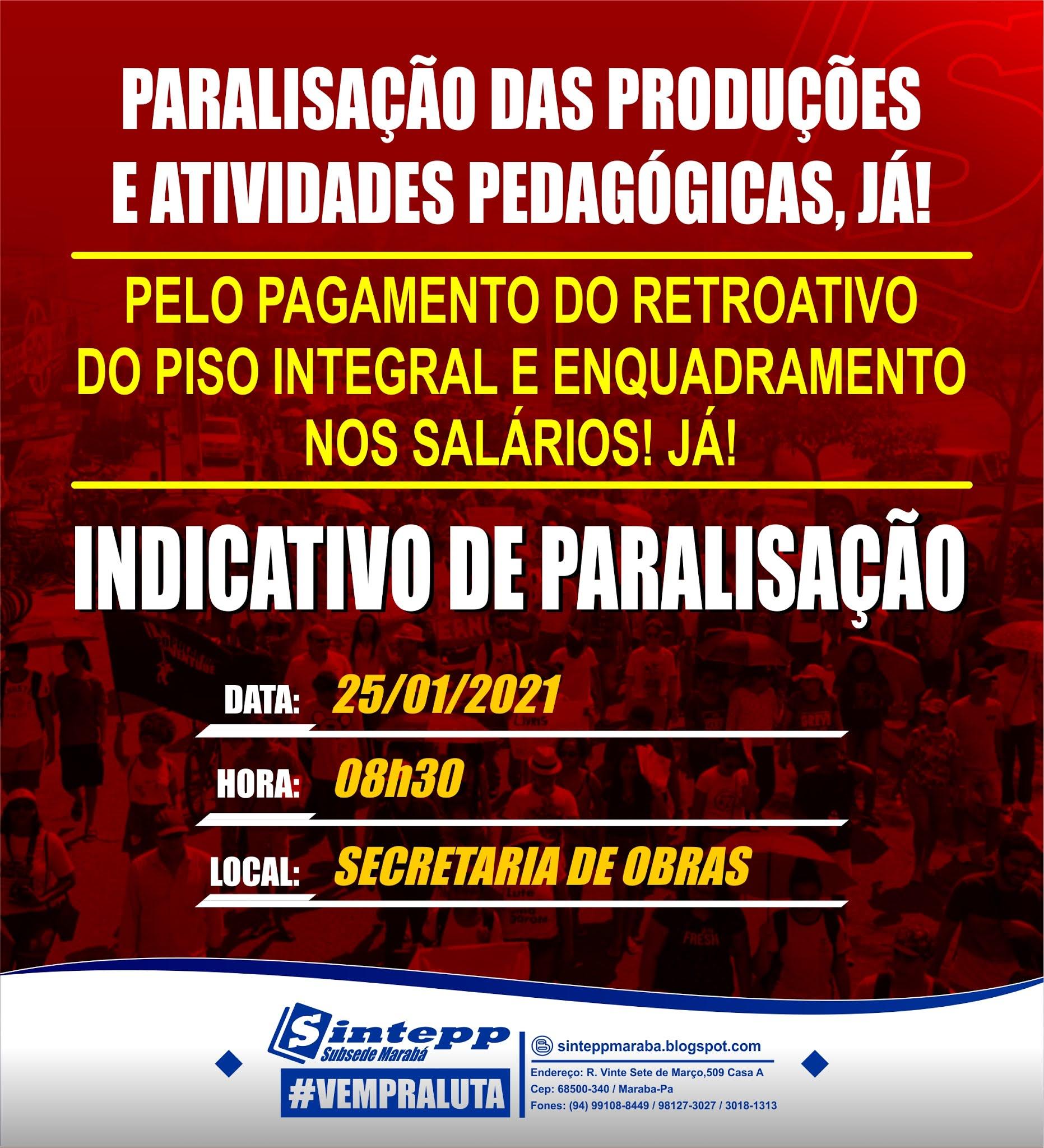 Marabá indica paralisação na Educação em 25 de janeiro