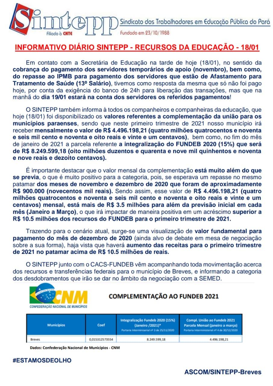 Informativo Diário SINTEPP Breves – 18.01 (Recursos da Educação)