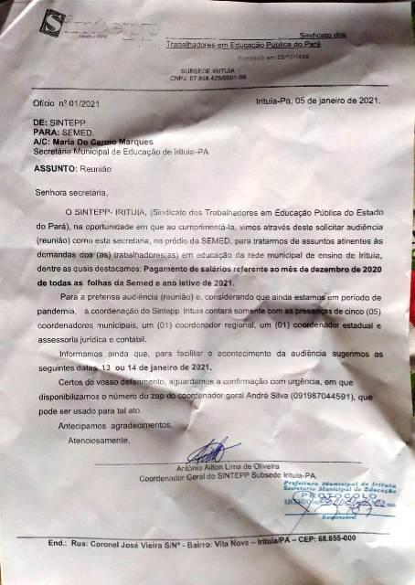 Sintepp Irituia protocola pedido de reunião com SEMED