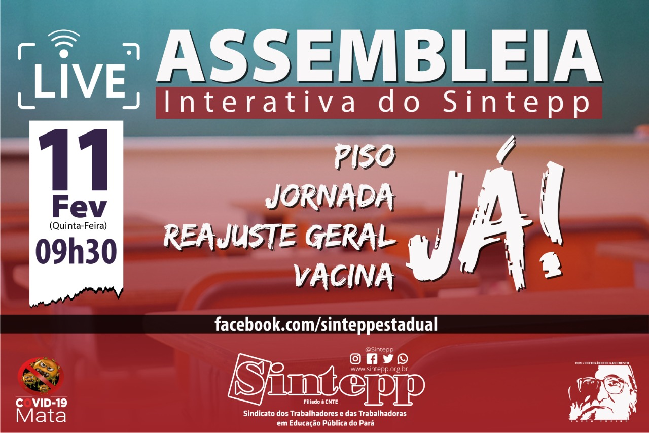 11|02 – Assembleia Interativa SINTEPP, às 9h30. Participe!