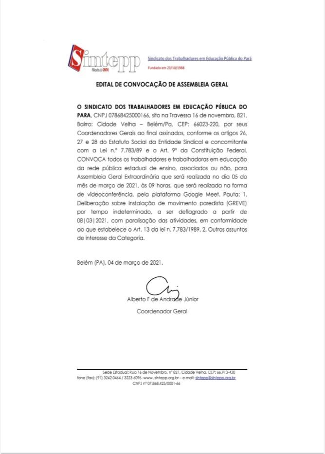 Edital de convocação assembleia geral 05|03