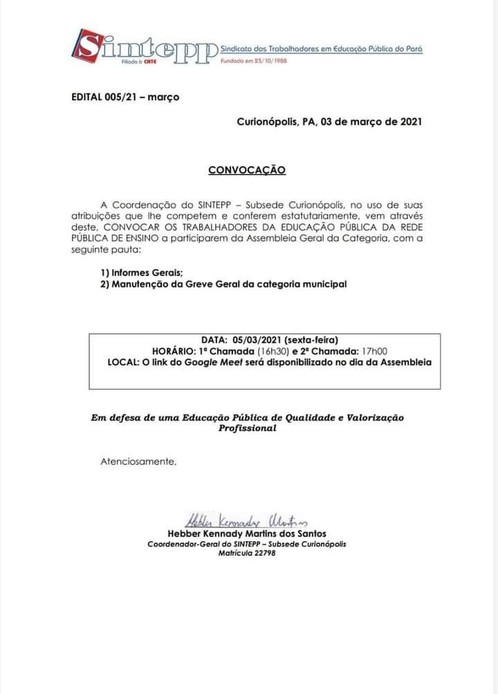 Nota SINTEPP – Subsede Curionópolis