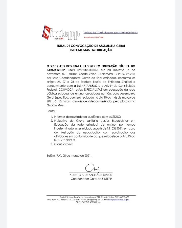Edital de convocação de assembleia geral dos Especialistas em Educação – 10 03