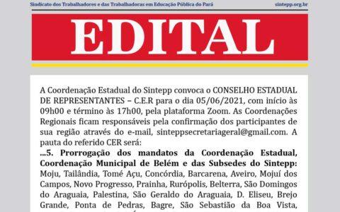 Edital de convocação para o Conselho de Representantes