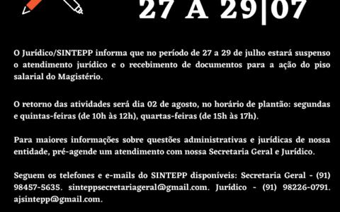 Recesso Jurídico SINTEPP 27 a 29 07