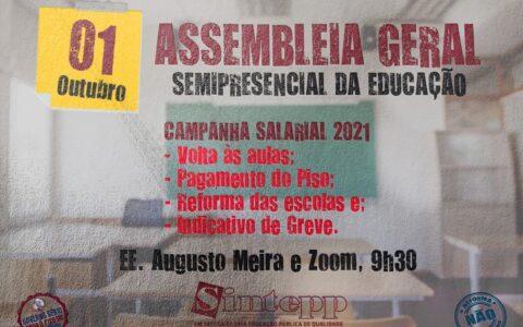 Sex| 01/10 | Assembleia Geral da Educação