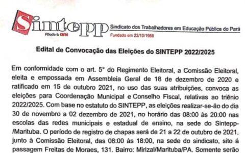 Sintepp Marituba divulga Edital de Convocação para Eleições Sindicais – 2022/2025