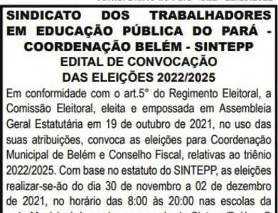 Edital de Convocação das Eleições SINTEPP Belém – 2022/2025